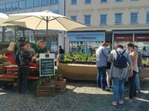 Kaiserstühler Regionalmarkt in Emmendingen. Kräuter, Stauden und Gräser aus Bioland-Anbau. Eichstetten vom Kaiserstuhl bei Freiburg.